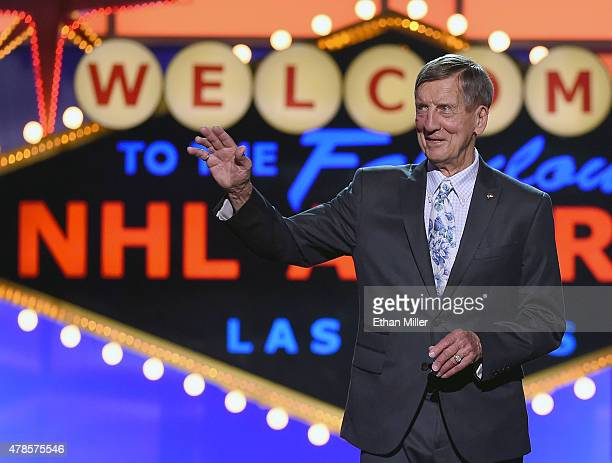 Former NHL player Ted Lindsay presents the Ted Lindsay Award during the 2015 NHL Awards at MGM Grand Garden Arena on June 24 2015 in Las Vegas Nevada