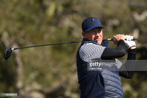 Former NHL player Wayne Gretzky plays his shot from the 16th tee during the third round of the ATT Pebble Beach ProAm at Pebble Beach Golf Links on...