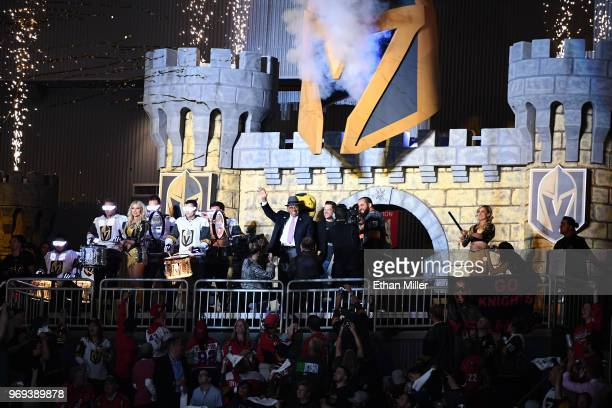 Former NHL player Willie O'Ree waves from the Castle as he is introduced before the first period of Game Five of the 2018 NHL Stanley Cup Final...