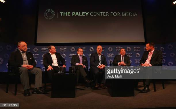Former NHL players Brian Trottier Pat LaFontaine Rod Gilbert Ken Daneyko NHL commissioner Gary Bettman and host at NHL Network Tony Luftman have a...
