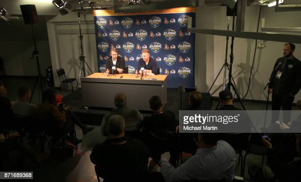 Former NHL players Peter Forsberg and Daniel Alfredsson take questions from the media at the Ericsson Globe on November 8 2017 in Stockholm Sweden