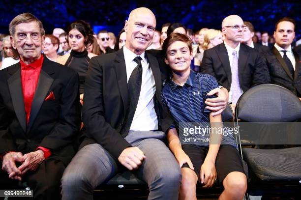 Former NHL players Ted Lindsay and Mark Messier attend the 2017 NHL Awards Expansion Draft at TMobile Arena on June 21 2017 in Las Vegas Nevada