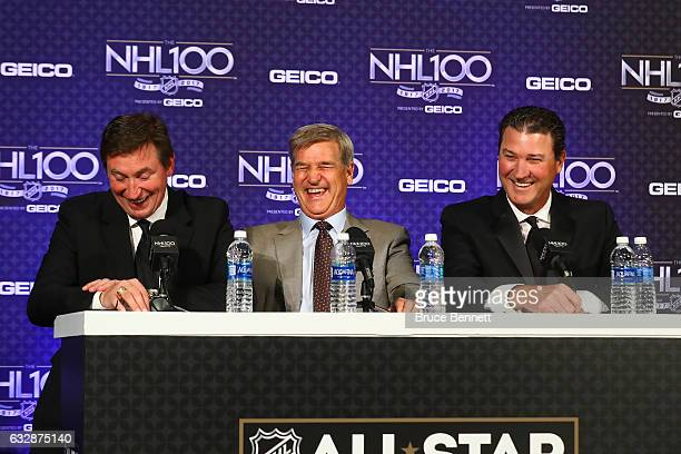 Former NHL players Wayne Gretzky Bobby Orr and Mario Lemieux react during the NHL 100 Media Availability as part of the 2017 NHL AllStar Weekend at...