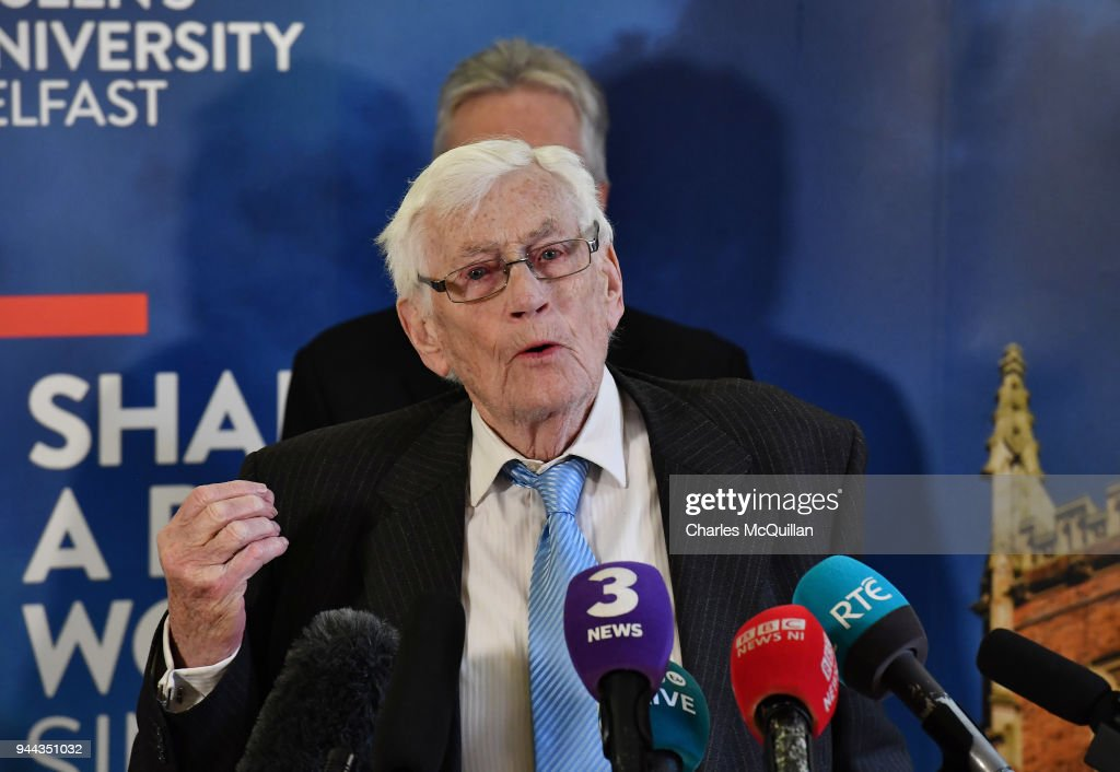Former NI deputy First Minister Seamus Mallon takes part in a press conference at an event to mark the 20th anniversary of the Good Friday Agreement at Queens university on April 10, 2018 in Belfast, Northern Ireland. The event, 'Building Peace: 20 years on from the Belfast/Good Friday Agreement' has been organised by the Senator George J. Mitchell Institute for Global Peace, Security and Justice.