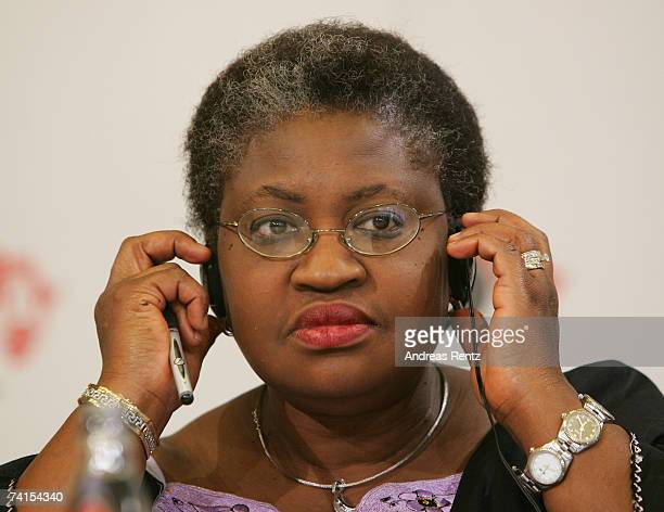 Former Nigerian Finance Minister Ngozi OkonjoIweala looks on during a news conference after the presentation of DATA report 2007 at the dbb forum on...