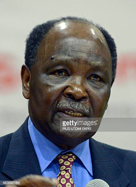 Former Nigerian Head of State General Yakubu Gowon speaks during a lecture to celebrate Nigerian literary icon and Nobel Prize laureate Professor...