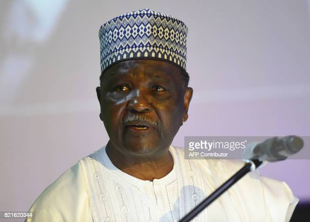 Former Nigerian military Head of State General Yakubu Gowon speaks during the anniversary of the International Institute for Tropical Agriculture in...