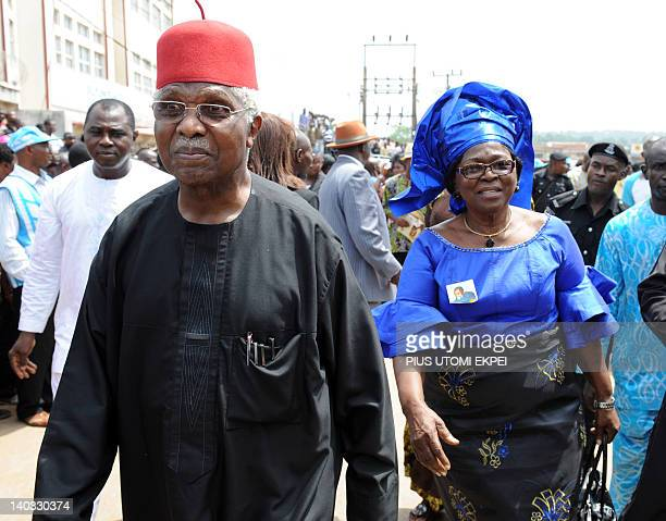Former Nigerian Vice President Alex Ekwueme and his wife Beatrice arrive to attend the funeral service at St Michaels Catholic Church during the...