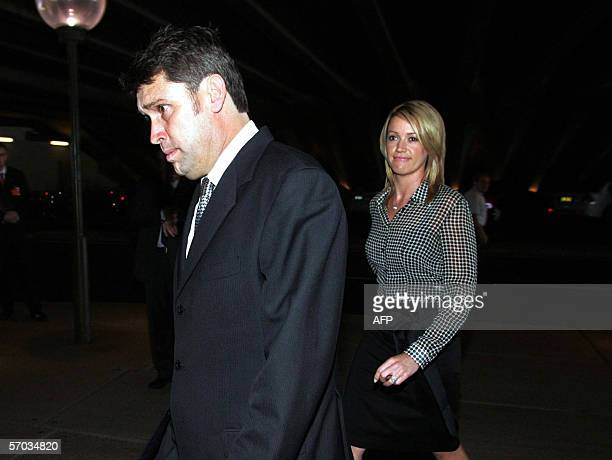 Former nine CEO David Gyngell and his wife Leila McKinnon arrive at the state memorial for Australian businessman Kerry Packer at the Sydney Opera...