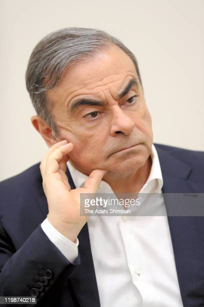 Former Nissan Motor CEO Carlos Ghosn speaks during a group interview for Japanese media on January 10 2020 in Beirut Lebanon