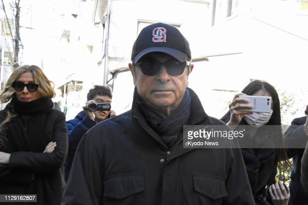 Former Nissan Motor Co Chairman Carlos Ghosn is pictured in Tokyo on March 8 two days after his release on bail from the Tokyo Detention House where...
