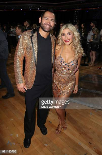 Former NLB player Johnny Damon and dancer/TV personality Emma Slater pose at ABC's 'Dancing with the Stars Athletes' Season 26 Finale on May 21 2018...
