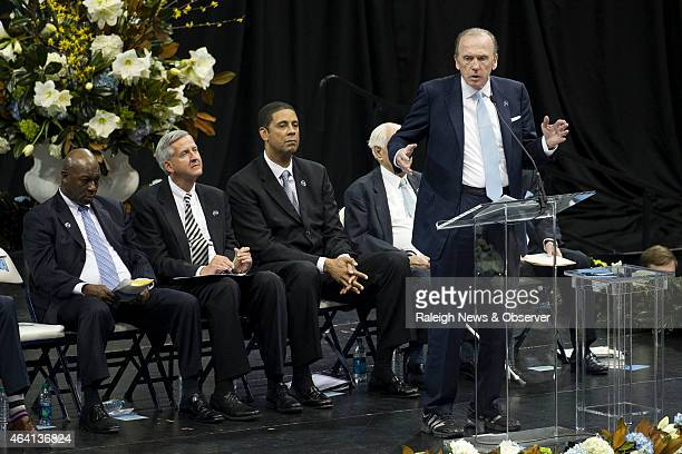 Former North Carolina player Billy Cunningham speaks during a memorial service for former North Carolina coach Dean Smith on Sunday Feb 2015 at the...