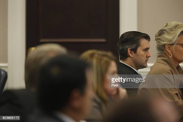 Former North Charleston police officer Michael Slager, listens to testimony during his murder trial at the Charleston County court November 17, 2016...
