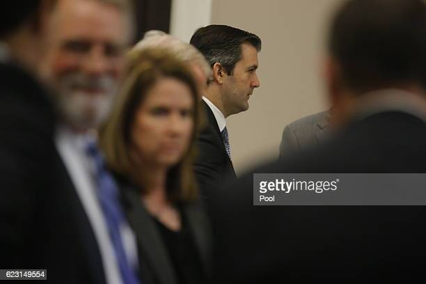 Former North Charleston police officer Michael Slager stands during his trial in Charleston County Court November 14, 2016 in Charleston, South...