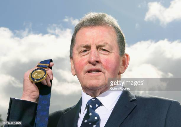 Former North Melbourne and Carlton coach Denis Pagan coach holds the Jock McHale Medal he will present to the winning coach during the 2018 Toyota...