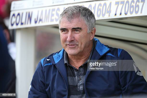 Former Northampton Town FC manager Ian Atkins looks on during the Leon Barwell Foundation Charity Football match at Sixfields Stadium on April 12...