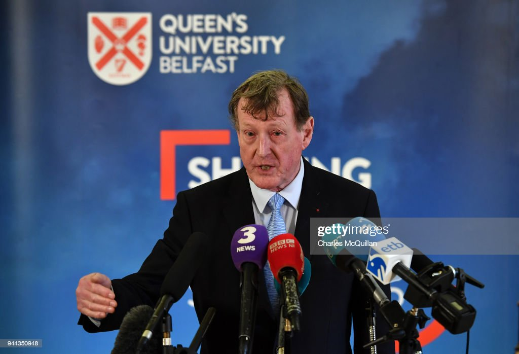 Former Northern Ireland First Minister Lord David Trimble holds a press conference at an event to mark the 20th anniversary of the Good Friday Agreement at Queens university on April 10, 2018 in Belfast, Northern Ireland. The event, 'Building Peace: 20 years on from the Belfast/Good Friday Agreement' has been organised by the Senator George J. Mitchell Institute for Global Peace, Security and Justice.
