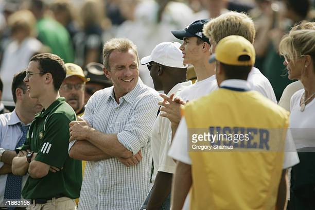 Former Notre Dame Fighting Irish player and Hall of Famer Joe Montana stands on the sidelines during the game against the Penn State Nittany Lions on...