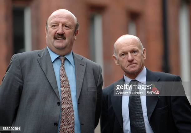 Former Nottingham Forest players Kenny Burns and Archie Gemmill attend the unveiling of the new Statue of Brian Clough in Nottingham
