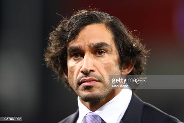 Former NRL player and newly appointed commentator Johnathan Thurston looks on during the NRL Preliminary Final match between the Melbourne Storm and...
