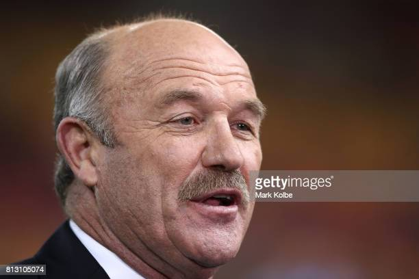 Former NRL player Wally Lewis is seen before game three of the State Of Origin series between the Queensland Maroons and the New South Wales Blues at...