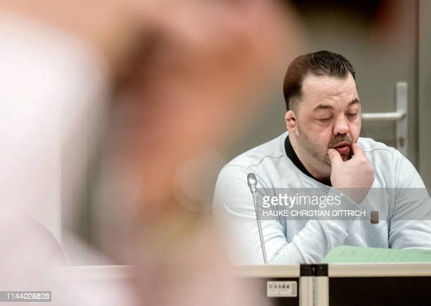 Former nurse Niels Hoegel accused of killing more than 100 patients in his care attends a hearing in his trial on May 16 2019 in Oldenburg northern...