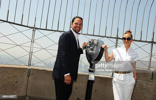 Former NY Met and 12 Time MLB AllStar Mike Piazza and his wife Alicia Rickter visit The Empire State Building to celebrate the National Italian...