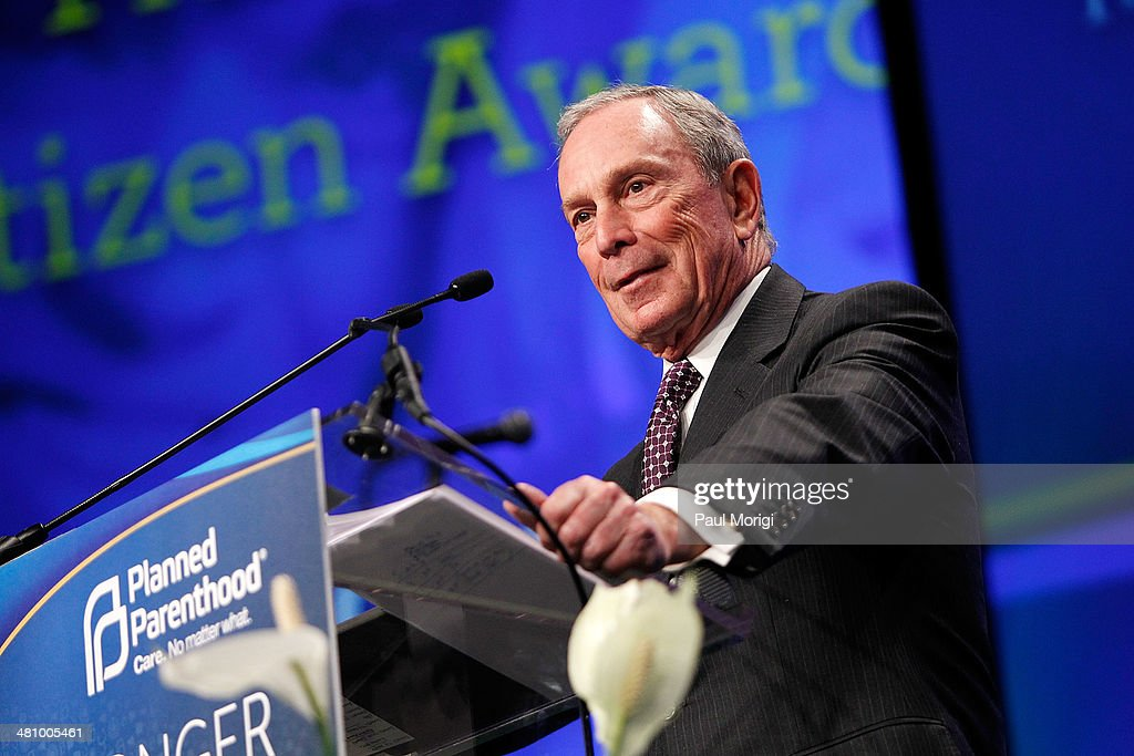 Former NYC Mayor Michael Bloomberg makes a few remarks after receiving the Global Citizen Award at the Planned Parenthood Federation Of America's 2014 Gala Awards Dinner at the Marriott Wardman Park Hotel on March 27, 2014 in Washington, DC.
