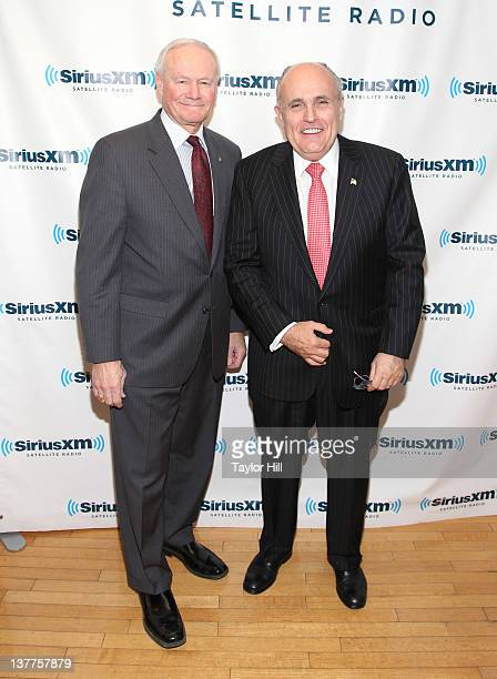 Former NYPD Commissioner Howard Safir and former mayor Rudy Giuliani attend the launch of 'The Badge With Howard Safir' at SiriusXM Studio on January...
