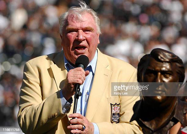 Former Oakland Raider coach John Madden his honored during a pregame ceremony for his induction into the Pro Football Hall of Fame at McAfee Coliseum...