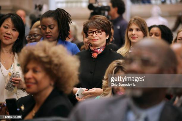 Former Obama Administration member Valerie Jarrett joins members of Congress guests and family members attending an event honoring NASA's 'Hidden...