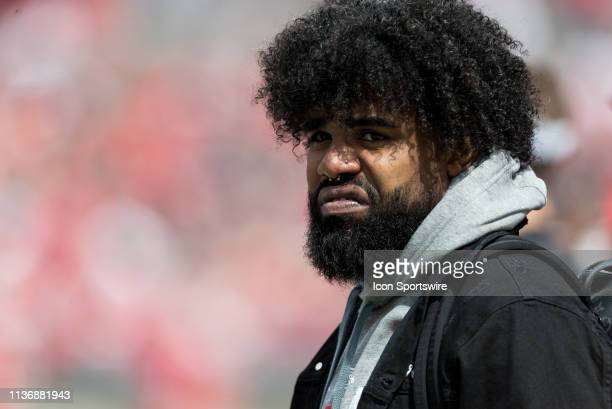 Former Ohio State Buckeye and current Dallas Cowboy Ezekiel Elliot watches the Ohio State Life Sports Spring Game presented by Nationwide at Ohio...