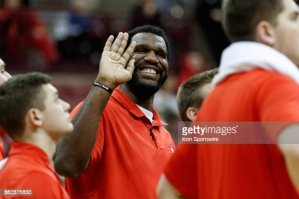Former Ohio State Buckeye Greg Oden smiles during a game between the Clemson Tigers and the Ohio State Buckeyes at on November 29th 2017 at Value...
