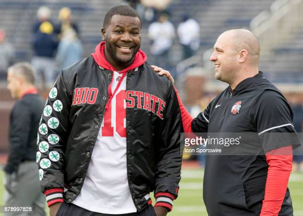 Former Ohio State Buckeyes and current Los Angeles Chargers Quarterback Cardale Jones and Ohio State Buckeyes Zach Smith Wide Receivers Coach /...