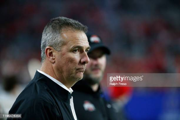 Former Ohio State Buckeyes head coach Urban Meyer looks on during the College Football Playoff Semifinal between the Ohio State Buckeyes and the...