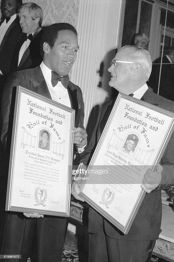 O.J. Simpson and Woody Hayes Inducted into the Football Hall of Fame : News Photo