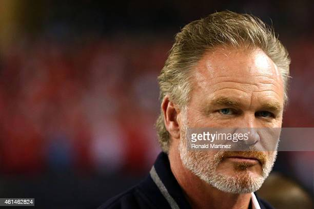 Former Oklahoma Sooner Brian Bosworth who was recently selected to college football hall of fame on the field during the College Football Playoff...