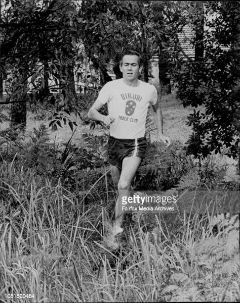 Former olympian Alby Thomas, running over a cross country course in Scarborough Park Kogarah. July 07, 1973. .