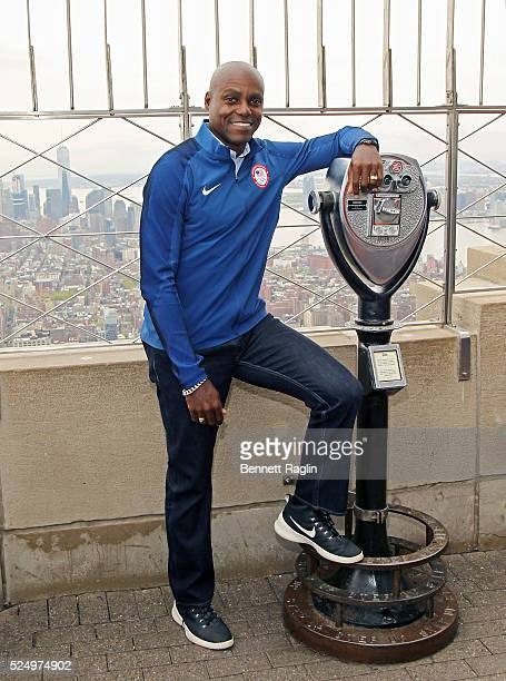 Former Olympian Carl Lewis attends the Team USA Athletes Light The Empire State Building Red, White And Blue To Celebrate The 100 Day Countdown Rio...