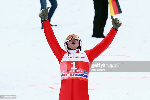 Former Olympian Eddie The Eagle Edwards attends a show jumping event on day 2 of the Four Hills Tournament Ski Jumping event at SchattenbergSchanze...