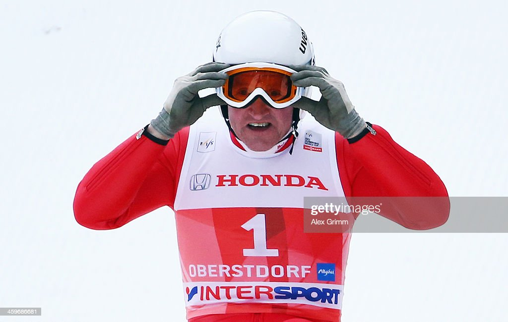 Former Olympian Eddie 'The Eagle' Edwards attends a show jumping event on day 2 of the Four Hills Tournament Ski Jumping event at Schattenberg-Schanze on December 29, 2013 in Oberstdorf, Germany.