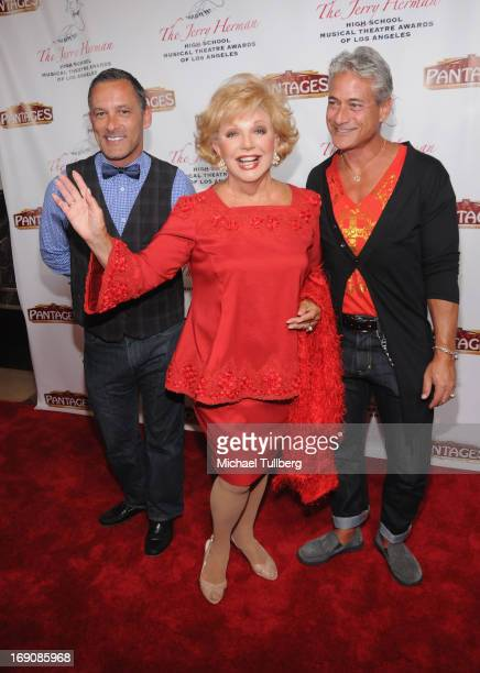 Former Olympian Greg Louganis actress Ruta Lee and guest attend the 2nd Annual Jerry Herman High School Musical Theatre Awards at the Pantages...