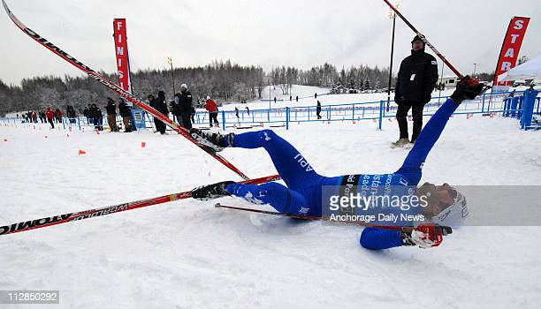 Former Olympian James Southam of Anchorage celebrates after crossing the finish line and winning the men's 30-K classic race, earning him his fifth...