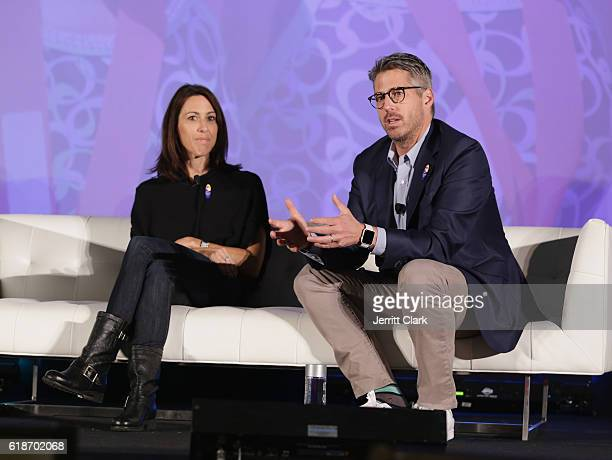 Former Olympian Janet Evans and Casey Wasserman speak during the 5th Annual LA84 Foundation Summit on October 27 2016 in Los Angeles California