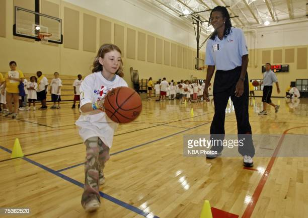Former Olympian Katrina McClain talks to a group of kids during a junior clinic sponsored by the NBA July 11 2007 at Nienhuis Park Community Center...