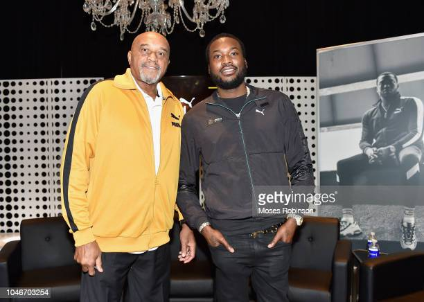 Former Olympian Tommie Smith and recording artist Meek Mill attend the PUMA #Reform To Drive Social Change launch at Atlanta History Center on...