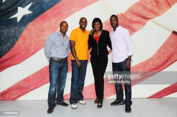 Former Olympians Jon Drummond, Carl Lewis, Jackie Joyner-Kersee, and Michael Johnson attend Nike's 2012 Debut of Team USA Apparel on June 14, 2012 in...