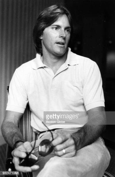 Former Olympic athlete Bruce Jenner participates in an interview at the Ritz Carlton Hotel in Boston Aug 15 1984