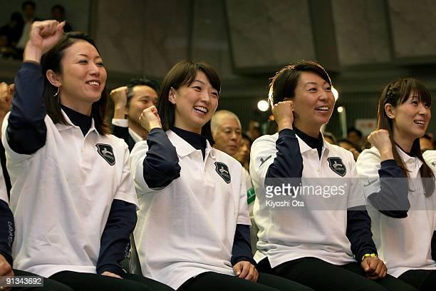 Former Olympic athletes Masami Tanaka Kyoko Iwasaki Sakae Morimoto and Yuka Harada cheer to support Tokyo's bid for the 2016 Summer Olympic Games at...